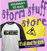 Storm Stuff Store with storm chaser T-shirts, Katrina ornament, gifts, bumper stickers, more